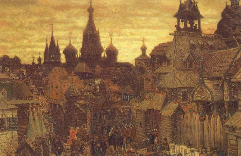 unknow artist The Old Moscow a street in Kitai-Gorod in the 17th century oil painting picture