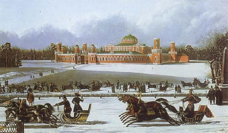 unknow artist Sleigh Races in the Petrovsky Park oil painting picture