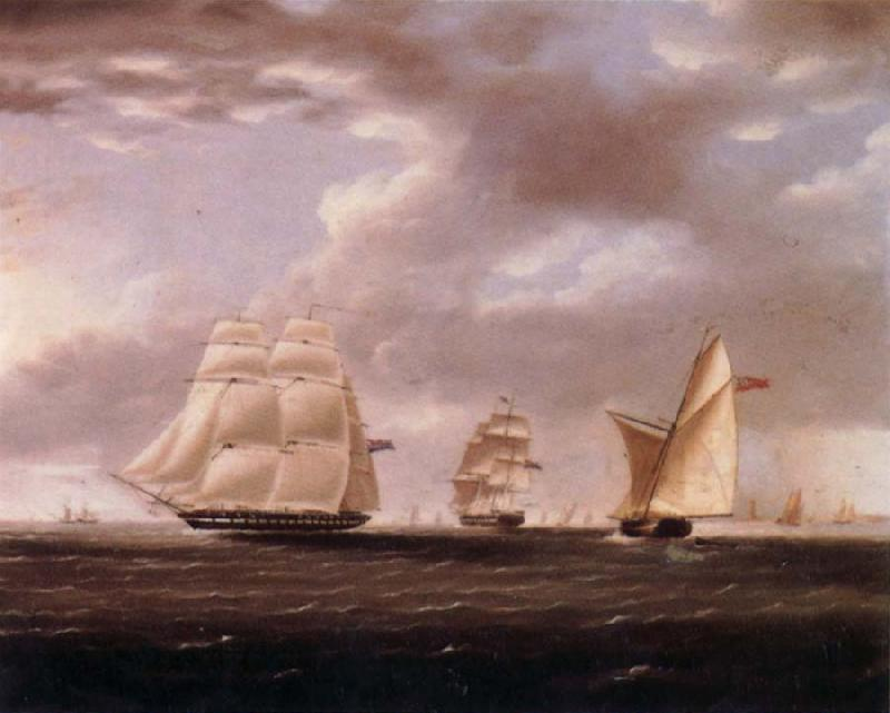 Thomas Buttersworth Two British frigates and a yawl passing off a coast oil painting image