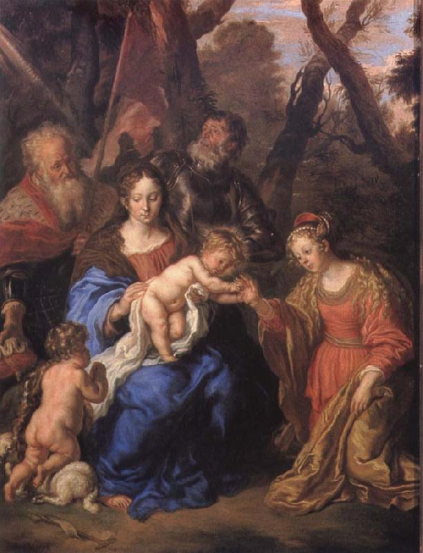 SANDRART, Joachim von The mystic marriage of St Catherine with SS Leopold and William Sweden oil painting art