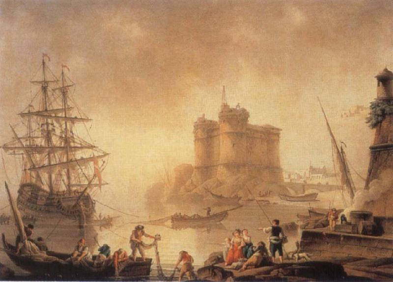 Charles-Francois de la Croix Harbour with a Fortress oil painting image