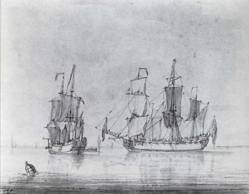 Francis Swaine A drawing of a small British Sixth-rate warship in two positions oil painting image