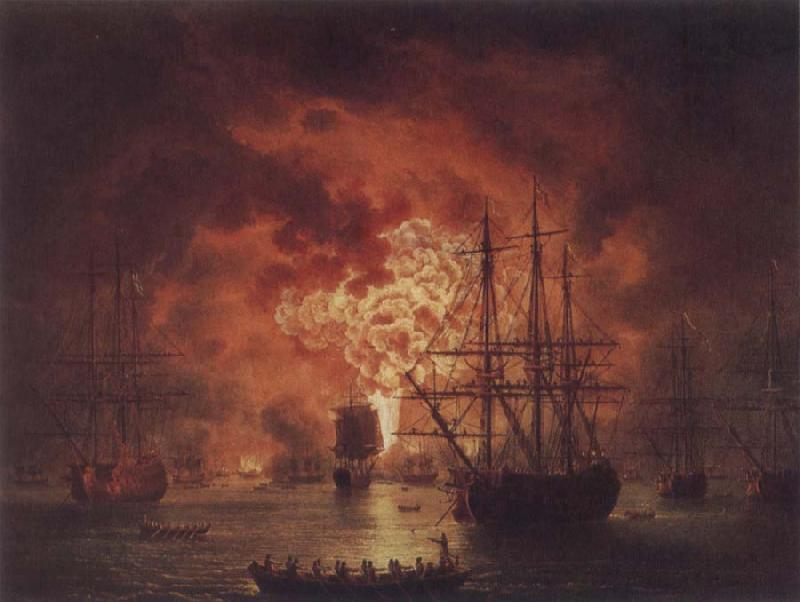 Jakob Philipp Hackert The Destruction of the Turkish Fleet in Chesme Harbour oil painting image