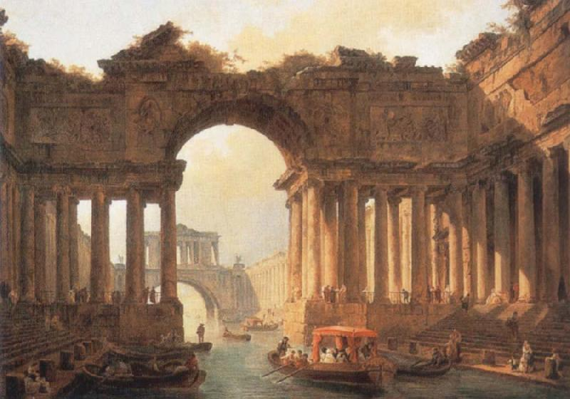 ROBERT, Hubert Architectural Landscape with a canal oil painting image