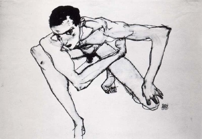 Egon Schiele Self Portrait in crouching position oil painting image