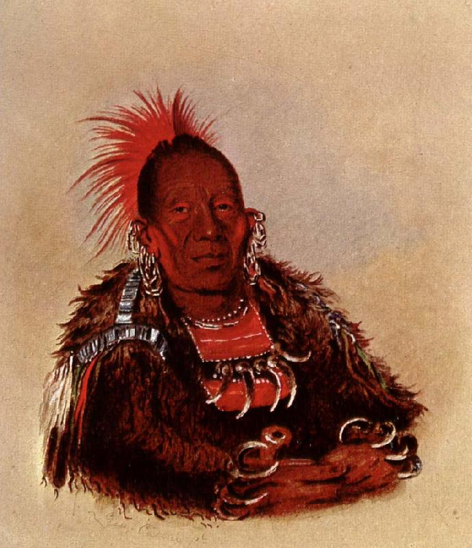 George Catlin Wah-ro-Nee-Sah,Oto Chief oil painting picture