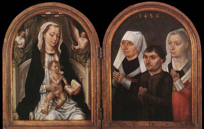 Master of the Saint Ursula Legend Diptych with the Virgin and Child and Three Donors oil painting image