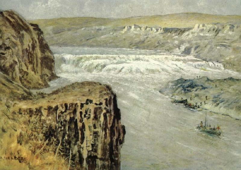 unknow artist Lewis and Clark at the Great falls of the missouri oil painting image