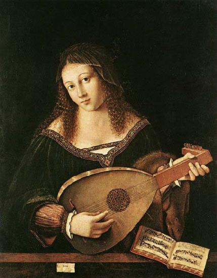 BARTOLOMEO VENETO Woman Playing a Lu oil painting image