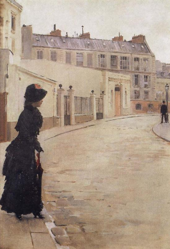 Beraud, Jean Waiting,Paris,Rue de Chateaubriand oil painting image