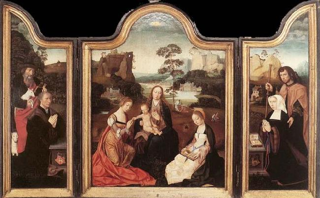 unknow artist Virgin and Child with St Catherine and St Barbara oil painting image