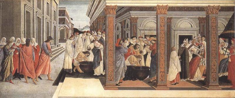 Sandro Botticelli Baptism,renunciation of Marriage,appointment as bishop oil painting image