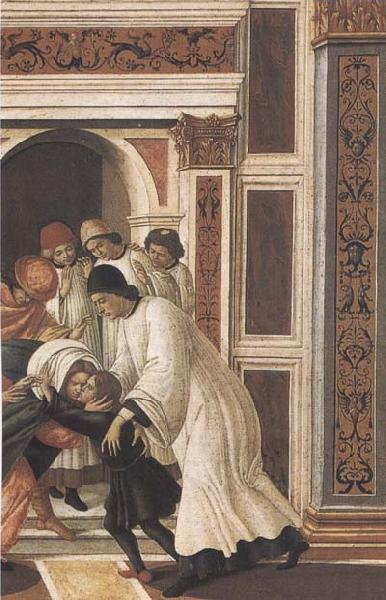 Sandro Botticelli Stories of St Zanobius Last Miracle:dead child revived by the Deacons Eugenius and Crescentius oil painting image