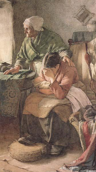 Walter Langley,RI But Men must work and Women must weep (mk46) oil painting image
