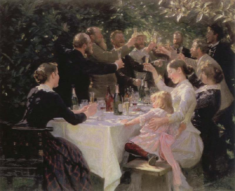 Peder Severin Kroyer hip hip hurrah artists party at skagen Sweden oil painting art