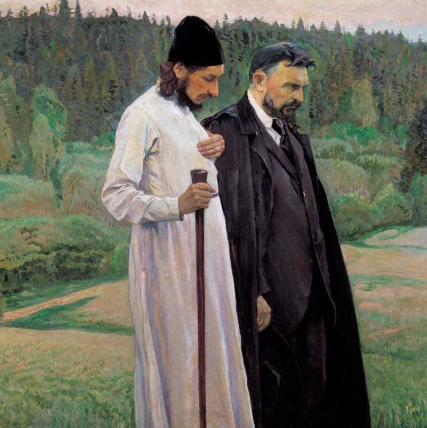 Mikhail Nesterov Philosophers depicts Symbolist thinkers Pavel Florensky and Sergei Bulgakov oil painting image