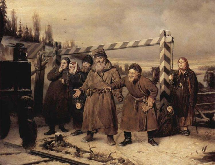 Vasily Perov At the railroad oil painting image