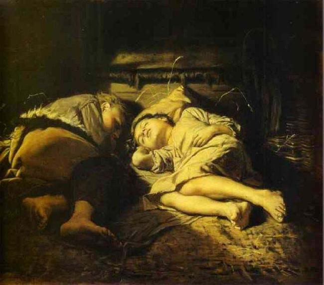Vasily Perov Sleeping children oil painting image