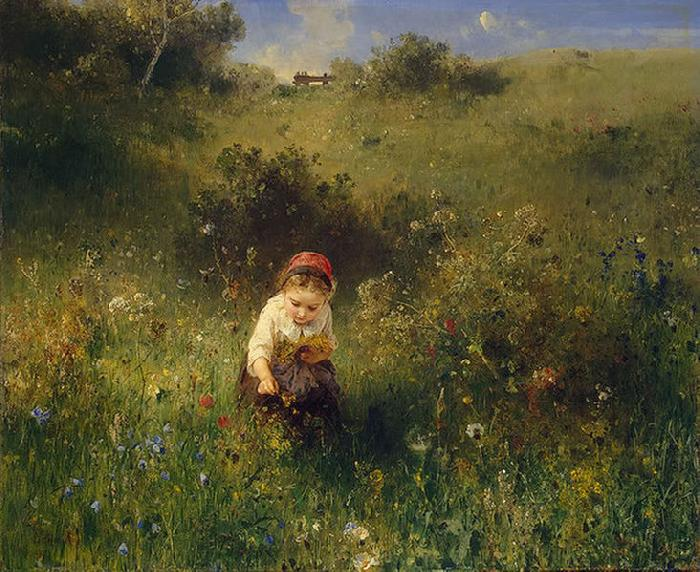 Ludwig Knaus Girl in a Field oil painting picture