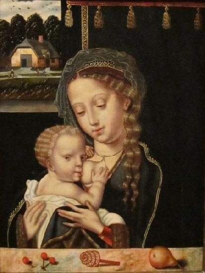 Anonymous Madonna and Child Nursing oil painting image
