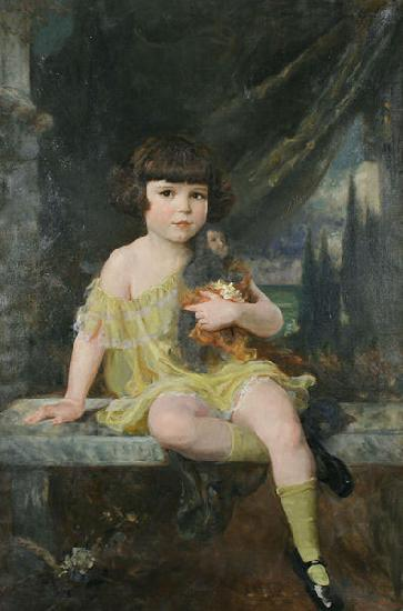 Douglas Volk Young Girl in Yellow Dress Holding her Doll, oil painting image