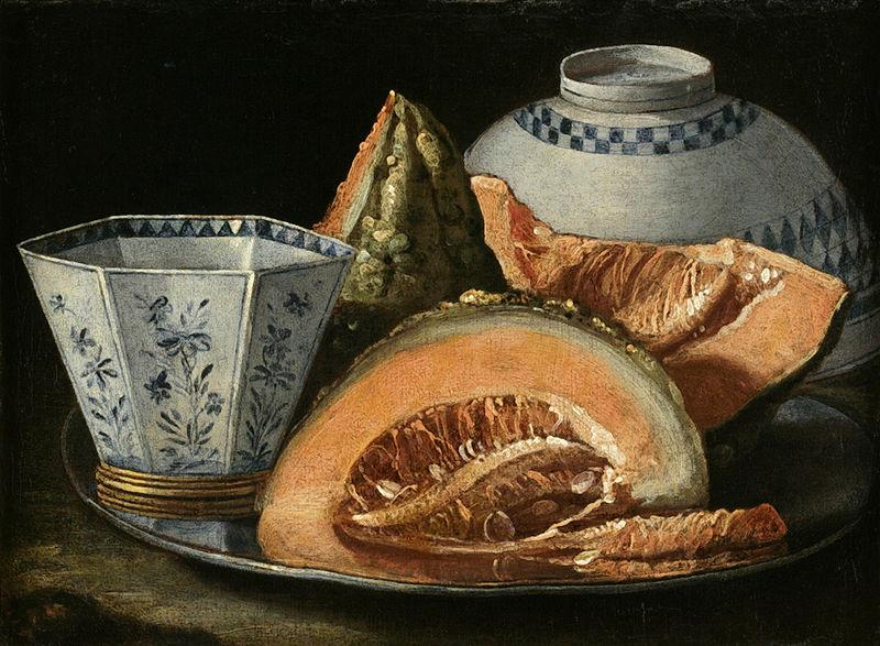 Cristoforo Munari A Still-Life with Melon, an octagonal blue and white cup on a Silver Charger oil painting image