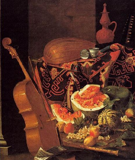 Cristoforo Munari with Musical Instruments and Fruit oil painting image