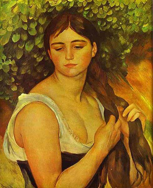 Pierre Auguste Renoir Girl Braiding Her Hair oil painting image
