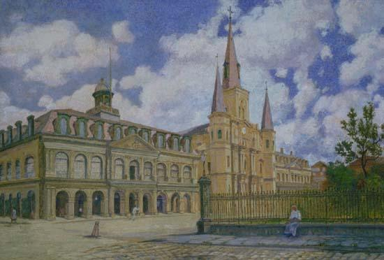 William Woodward Painting of view of Jackson Square French Quarter of New Orleans, oil painting picture
