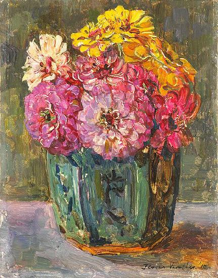 Floris Verster Stillife with zinnias in a ginger pot. oil painting image