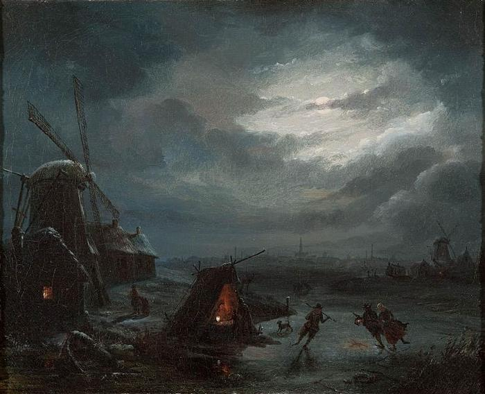 Jan Baptiste Vanmour Nocturnal View of the Ice oil painting picture