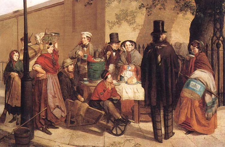 Charles Hunt A Coffee Stall Westminster oil painting image