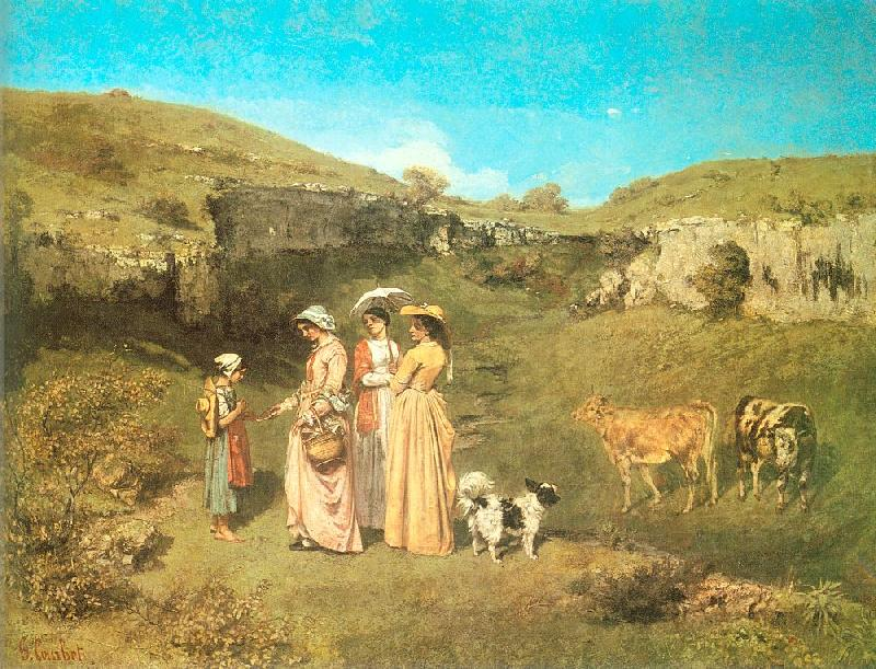 Courbet, Gustave The Young Ladies of the Village oil painting image