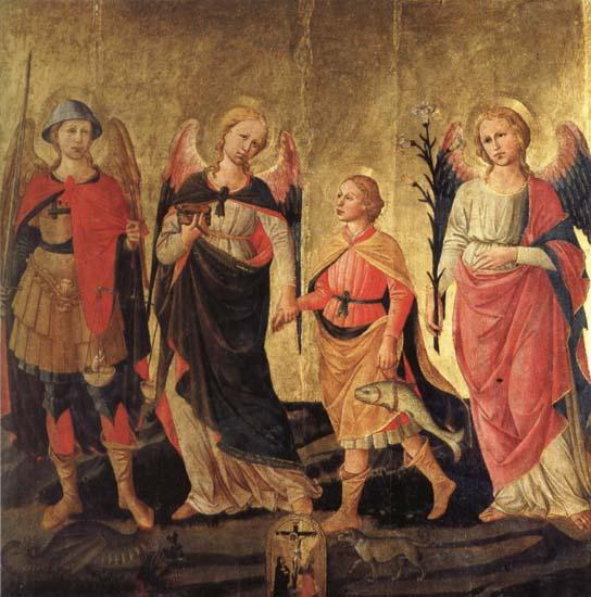 DOMENICO DI MICHELINO Tobias and the Three Archangels oil painting image