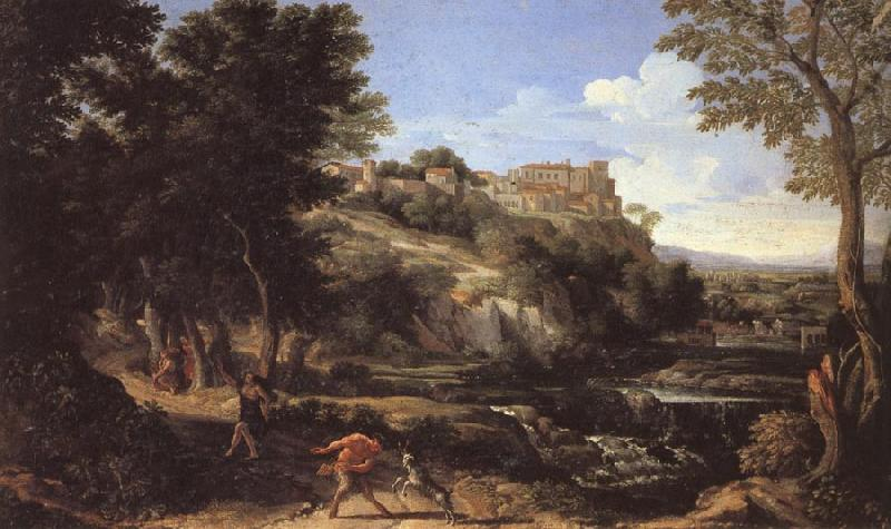 Gaspard Dughet Landscape with a Dancing Faun oil painting image