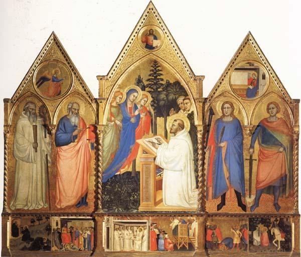 Matteo Di Pacino St.Bernard's Vistonof the Virgin with SS.Benedict,john the Evange-list.Quintinus,and Galgno,The Blessed Redeemer and the Annunciation Stories of the S Sweden oil painting art