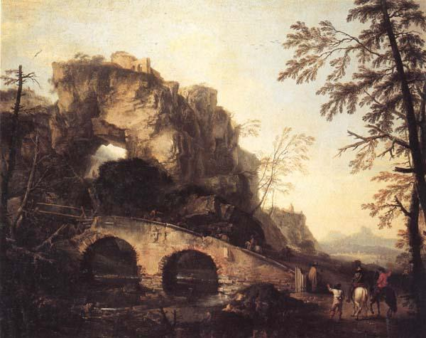 Salvator Rosa The Ruined Bridge oil painting image