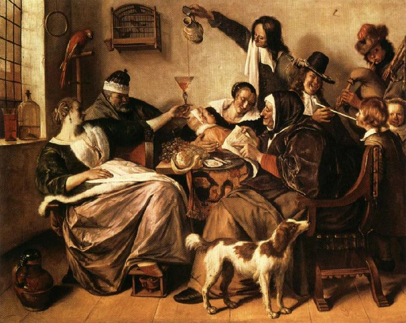 Jan Steen As the Old Sing.So Twitter the Young oil painting picture