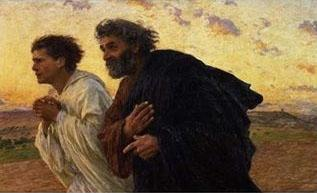 Eugene Burnand The Disciples Peter and John Running to the Sepulchre on the Morning of the Resurrection, c.1898 oil painting image
