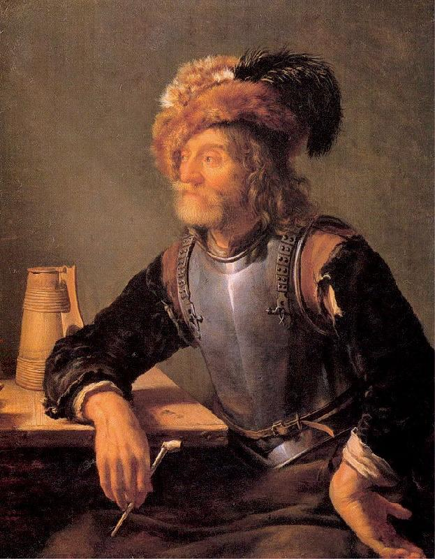 MIERIS, Frans van, the Elder Old Soldier Smoking a Pipe oil painting image