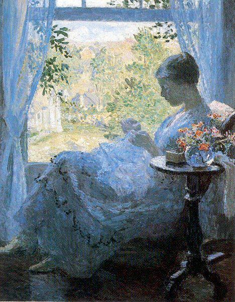 Melchers, Gari Julius Young Woman Sewing oil painting image