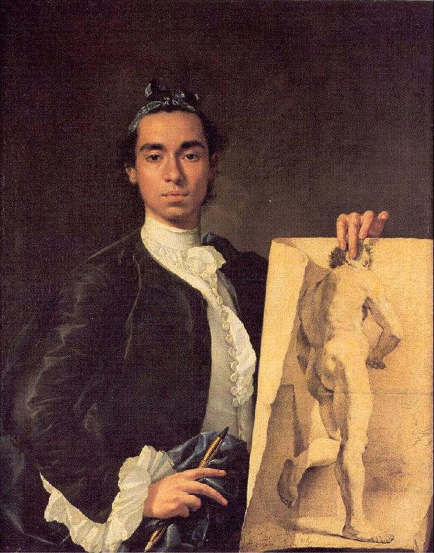 Melendez, Luis Eugenio Portrait of the Artist Holding a Life Study oil painting image