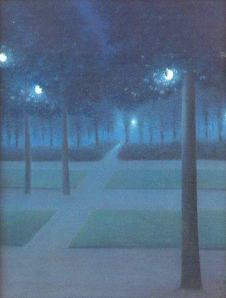 Nuncques, William Degouve de Nocturne in the Parc Royal, Brussels oil painting image