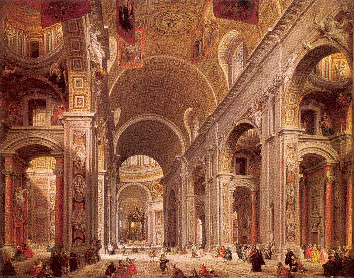 Panini, Giovanni Paolo Interior of Saint Peter's, Rome Sweden oil painting art