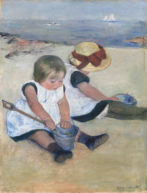 Mary Cassatt Two Children on the Beach (mk09) oil painting image