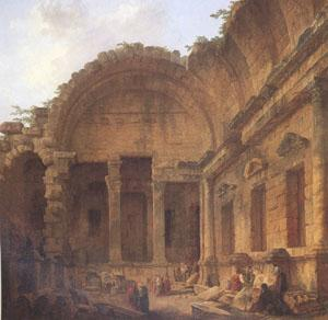 ROBERT, Hubert Interior of the Temple of Diana at Nimes (mk05) oil painting image