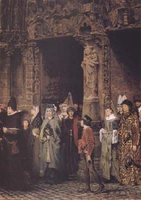 Alma-Tadema, Sir Lawrence Leaving Church in the Fifteenth Century (mk23) Sweden oil painting art