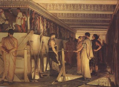 Alma-Tadema, Sir Lawrence Pheidias and the Frieze of the Parthenon Athens (mk24) oil painting image