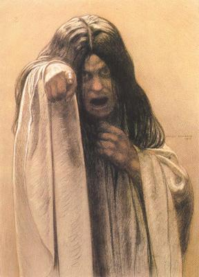 Carlos Schwabe Study for The Wave female figure left of the central figure (mk19) oil painting image