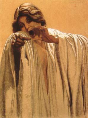 Carlos Schwabe Study for The Wave,feminine figure,back right Mixed media on board (mk19) oil painting image